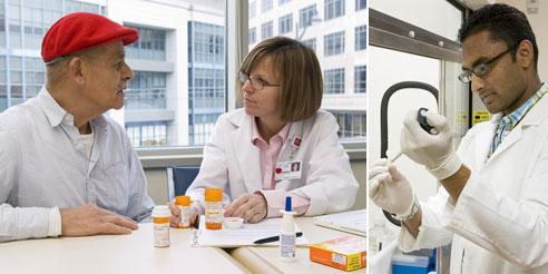 two examples of pharmacists working: patient counseling and in a laboratory
