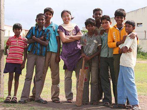 Jennifer with locals